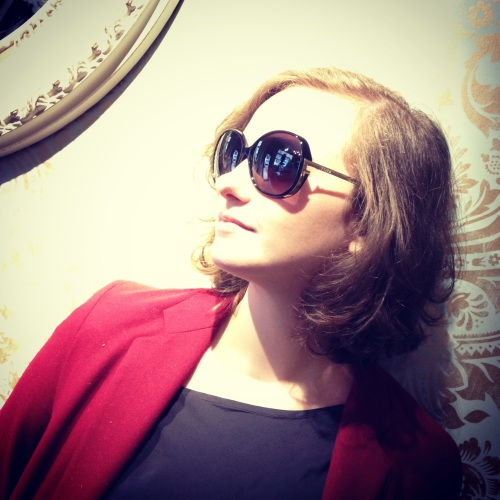 Sunglasses: Fendi, Blazer: Theory, Blouse: Club Monaco