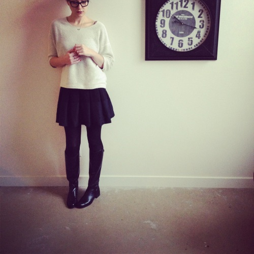 "Boots: Hunter ""Sylvie"", Sweater: American Apparel, Skirt: Ted Baker, Tights: Joe Fresh"