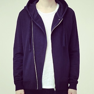 The Rupesh Biker Hoody in Ink. Photography curtesy of www.allsaints.com